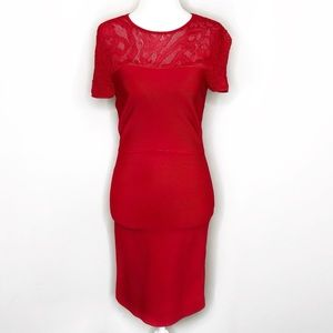 BCBGMaxAzria Cocktail Fitted Lace Red Dress